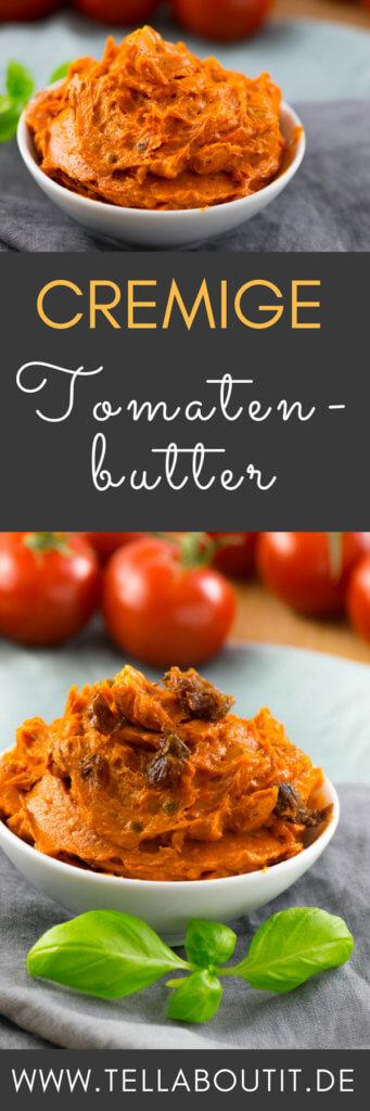 Zum Grillen gehören neben Brot, Salat und Fleisch natürlich auch leckere Dips und Butter. Perfekt passt im Sommer eine leckere und aromatische Tomatenbutter. Mit nur 5 Zutaten ist diese in wenigen Minuten fertig zubereitet. Schmeckt perfekt zu Fleisch und frischem Brot. #Grillbeilagen #rezepte #Butter #Dips #Tomatenbutter #Sommerrezept