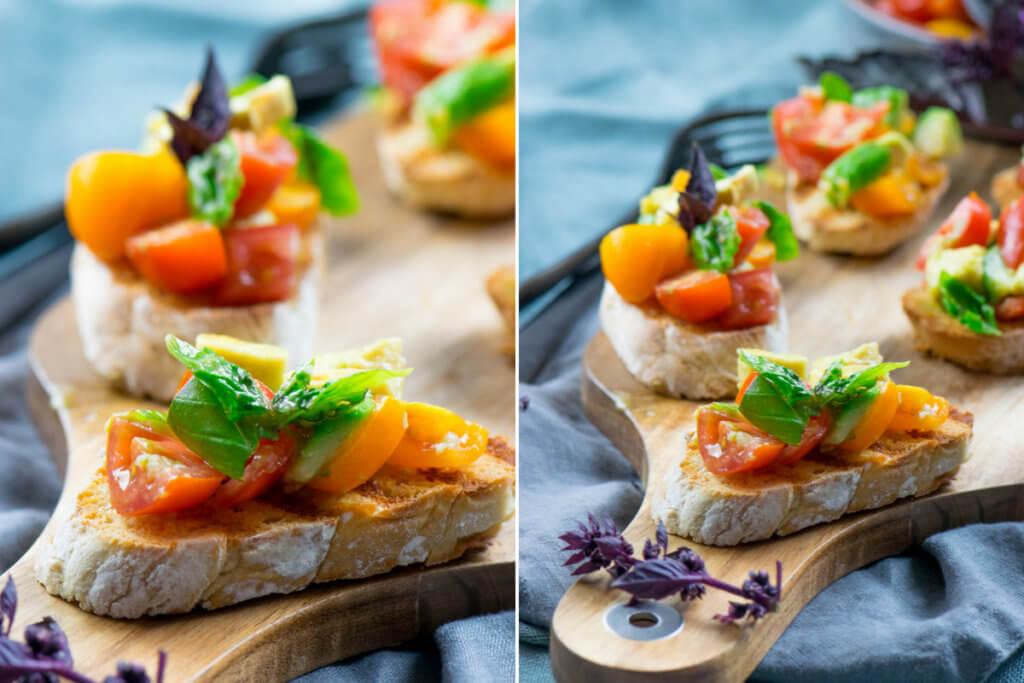 Super lecker und genial erfrischend - Avocado Bruschetta mit Tomaten und Basilikum