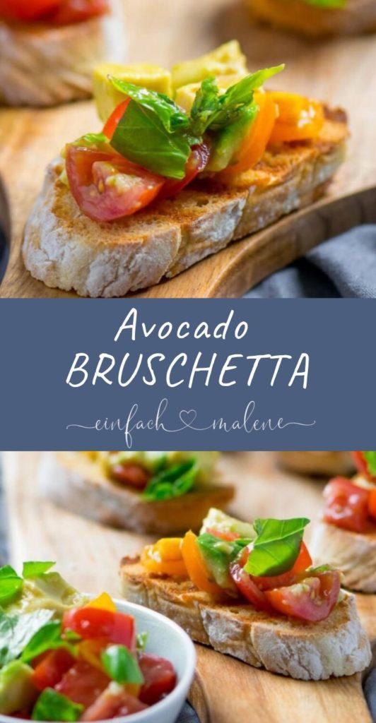 Das perfekte Sommerrezept - geröstete Brotscheiben mit Tomaten Avocado Salat und frischem Basilikum. Super lecker und ruck zuck zubereitet. Genial lecker dieses Avocado Bruschetta