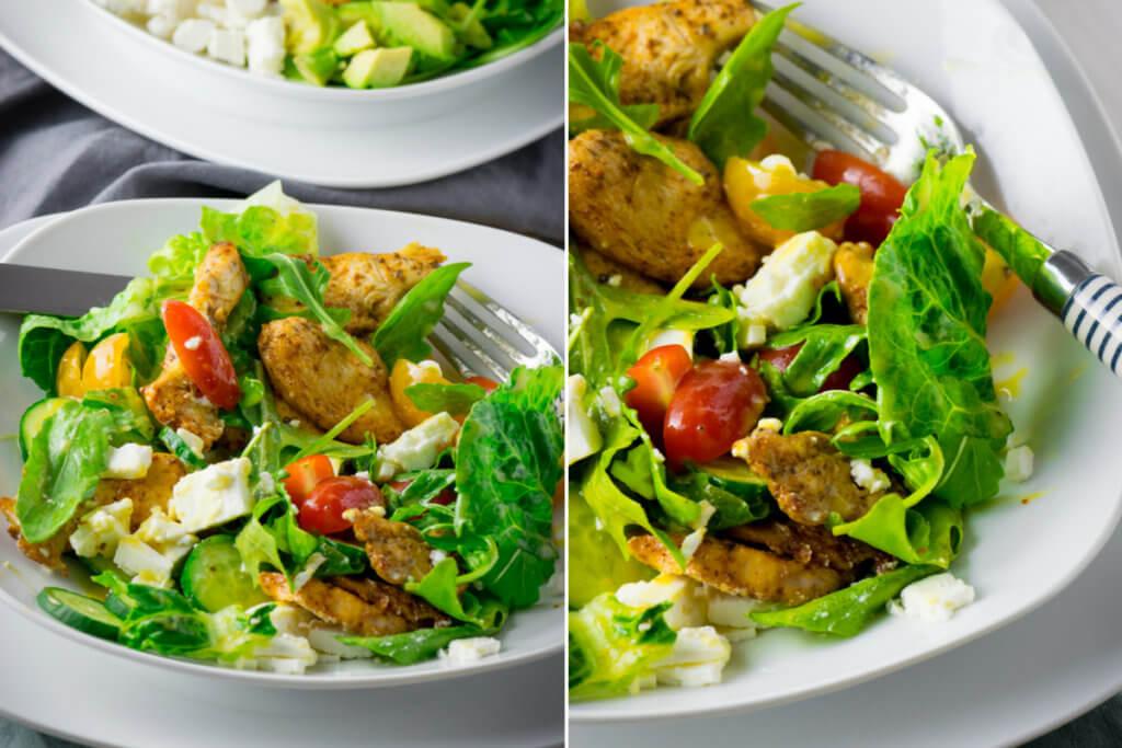 Chicken aus dem Aifryer mit Brathähnchengewürz auf leckerem Salat