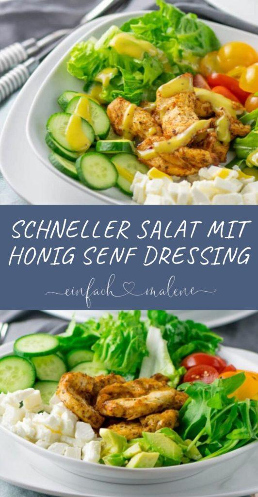 Richtig leckerer Salat mit Grilled Chicken & Honig Senf Dressing. So schmeckt Salat besonders gut: mit superzarten Hähnchenbrust Streifen, die ruck zuck in der Heißluftfritteuse zubereitet werden können. Einfach lecker!!