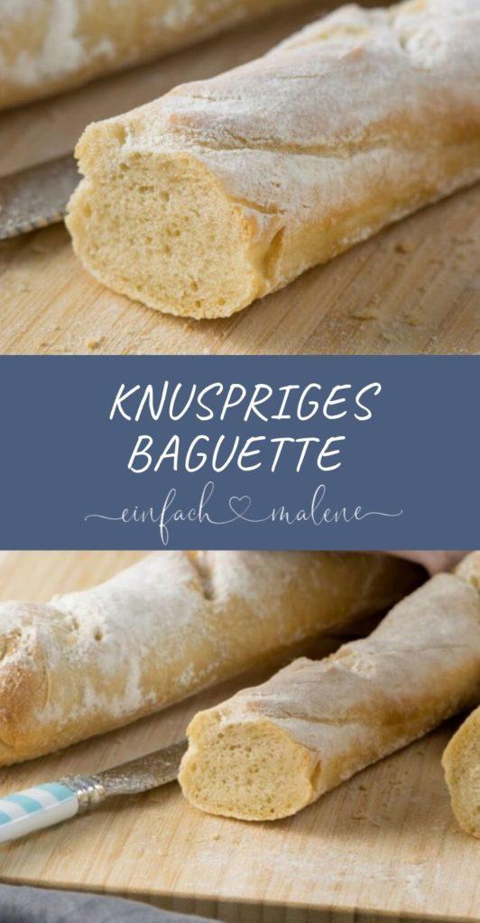 Knuspriges Baguette selber backen und belegen. Das Baguette schmeckt super zum Frühstück, zu Salat und ist belegt der Knaller. Nur mit Butter und Salami oder als Sandwich mit Mozzarella, Tomaten & Pesto.