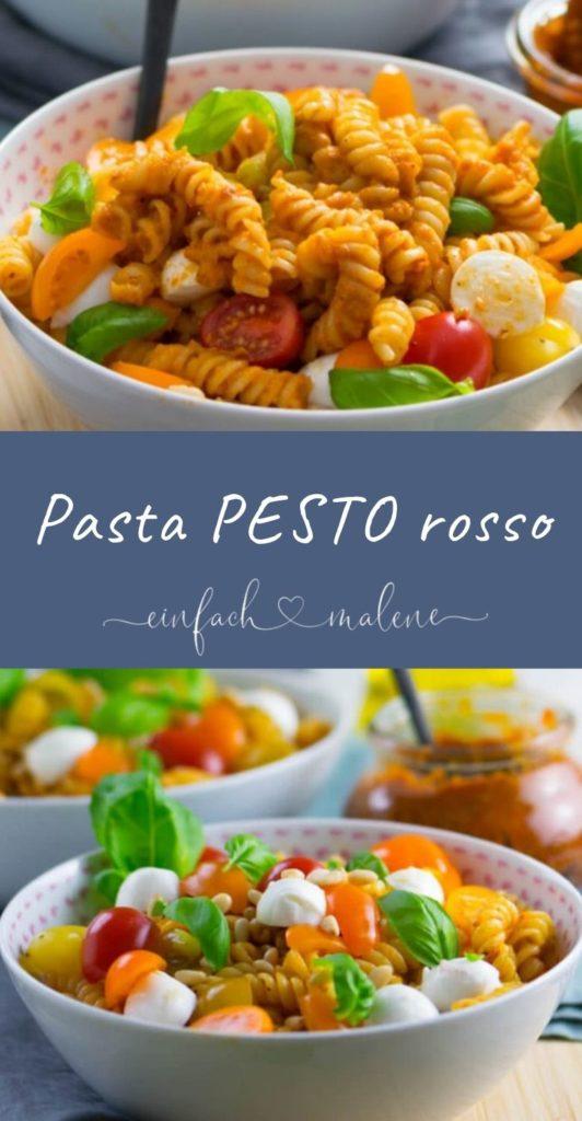 Sommerliches Pastarezept mit Tomatenpesto. Dieses Pasta Pesto Rosso Rezept ist super köstlich und in nur wenigen Minuten zubereitet.