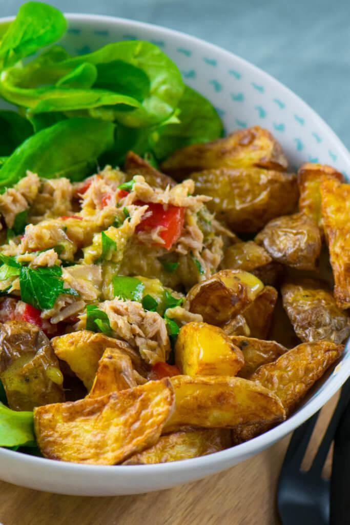 Mega lecker und fertig in nur wenigen Minuten - Thunfisch Röstkartoffel Salat