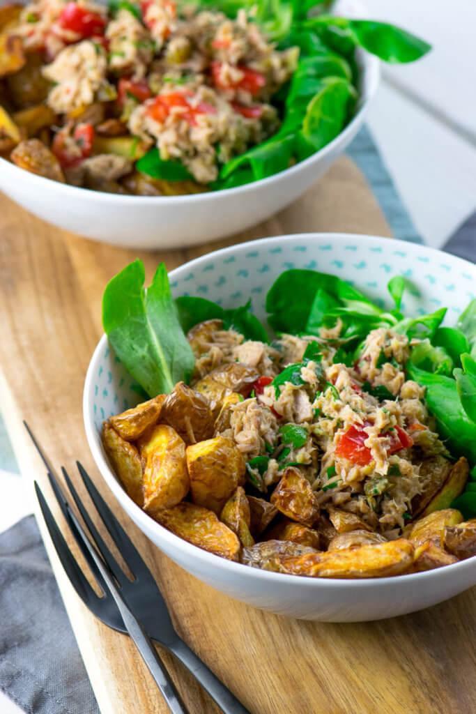 Musst du probieren - Kartoffelecken aus der Heißluftfritteuse mi leckerem Thunfisch Salat