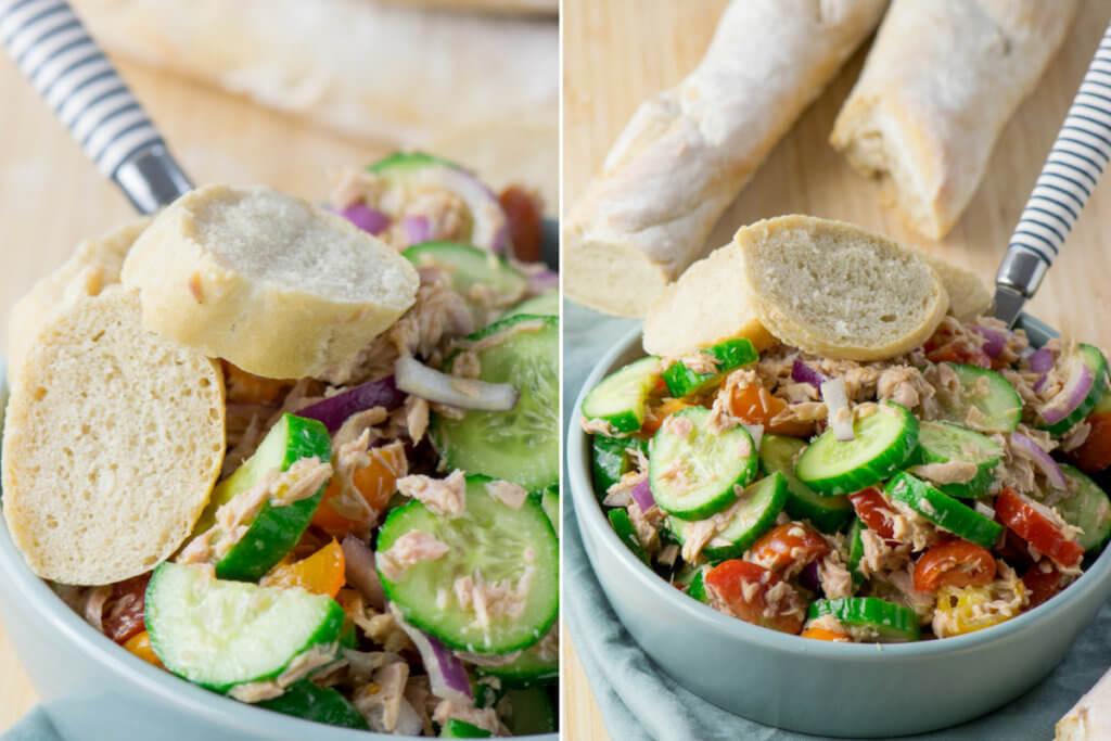 Leckerer Thunfisch Salat mit schneller Honig Senf Vinaigrette