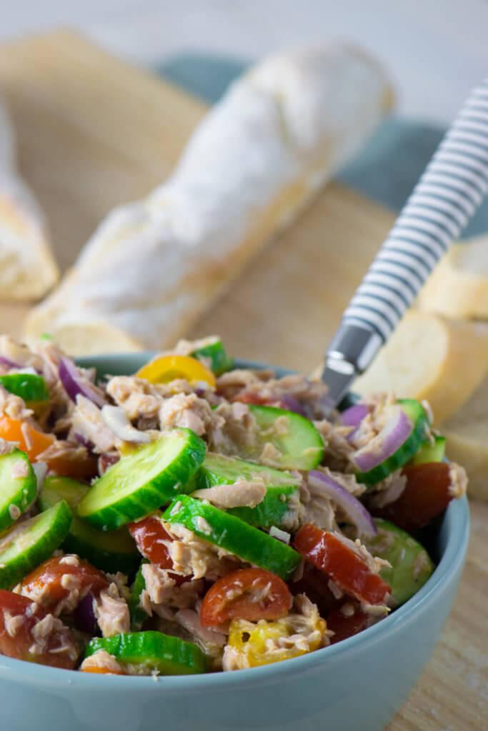 Schneller Thunfischsalat mit Honig Senf Dressing