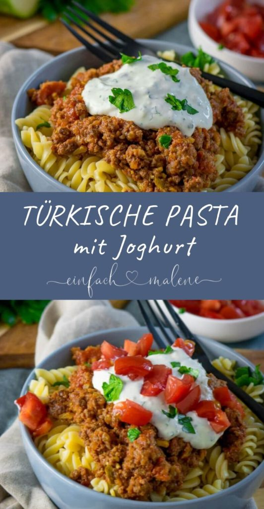 Irre lecker und einfach gekocht - Türkische Hackfleisch Pasta. Super lecker und dazu noch einfach gekocht. Genau das richtige für Hackfleischfans und Tomatenliebhaber. Ich liebe die erfrischende Kombination mit Joghurt!