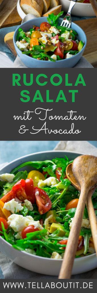 Dieser Salat ist schnell gemacht & super köstlich: Rucola Salat mit Tomate, Mozzarella & Honig Senf Vinaigrette. Dazu einfach etwas Brot reichen & genießen.