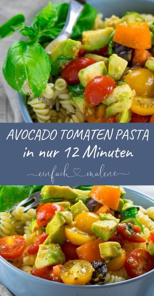 Diese Avocado Tomaten Pasta ist ein Geheimtipp!! Während die Nudeln kochen, bereitest du die Avocado Tomaten Salsa zu. In nur 12 Min. ist die Pasta fertig.