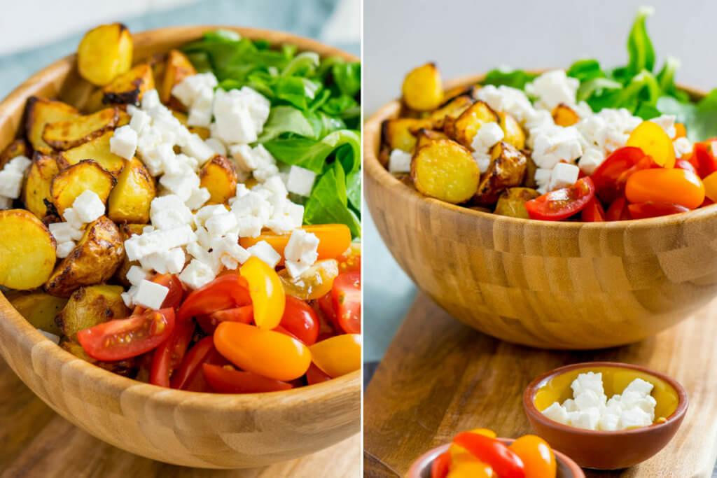 Röstkartoffel Salat mit Honig Senf Marinade