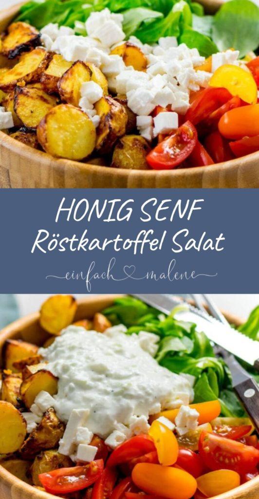 Dieser Röstkartoffel Salat ist mega. Das Rezept ist ruck zuck zubereitet, günstig und einfach köstlich. Die Honig Senf Röstkartoffeln werden super knusprig.