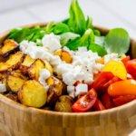 Honig Senf Röstkartoffel Salat mit Feta und Tomaten #airfryer #rezept #kartoffelrezept