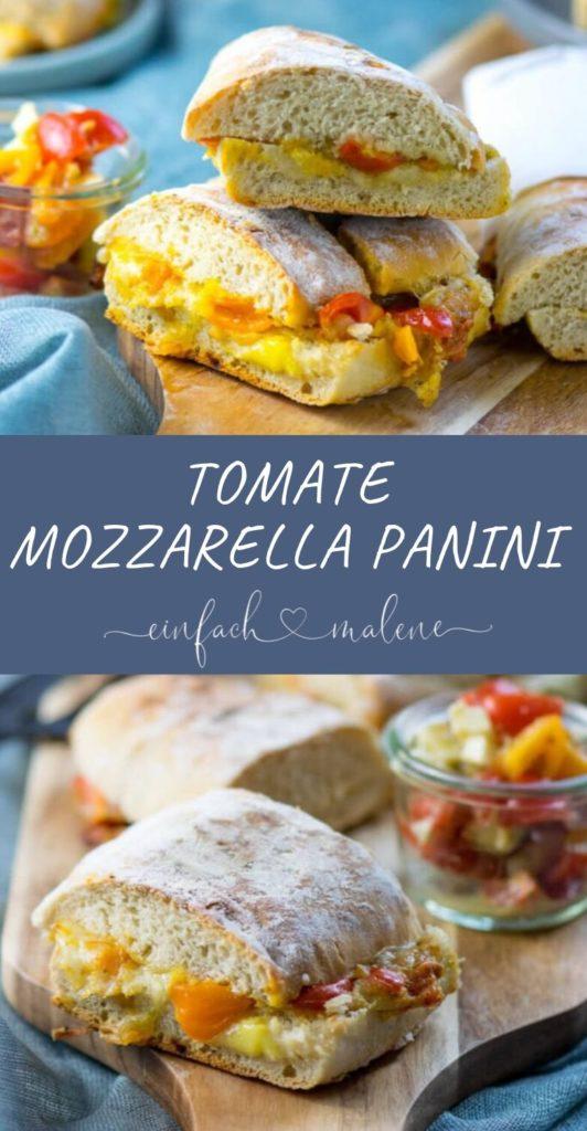 Tomate Mozzarella Panini von Kontaktgrill. Schmeckt lecker und passt immer, mit nur wenigen Zutaten leckere Panini zaubern. Gefüllt mit Tomate, geschmolzenem Mozzarella und Pesto. Super köstlich.