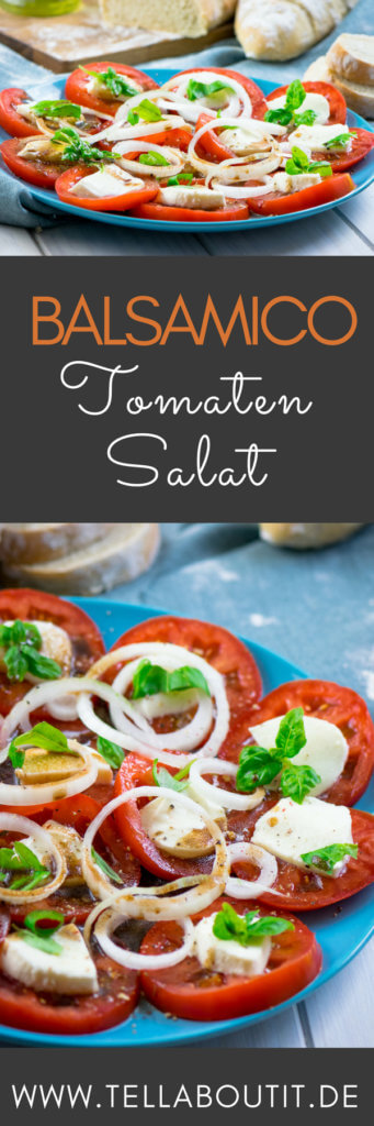 Diesen Tomatensalat mit Mozzarella und Balsamico Dressing könnt ihr in wenigen Minuten zubereiten und auch das Dressing besteht aus nur 2 Zutaten.