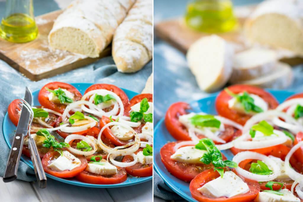 Tomatensalat mit Mozzarella und Balsamico Dressing