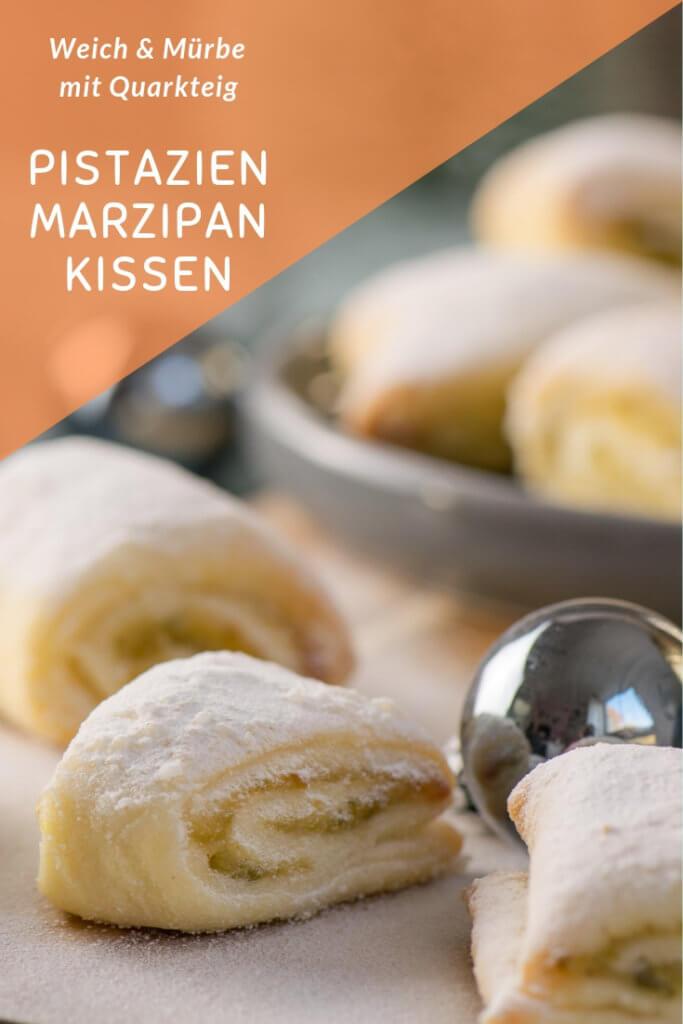 Pistazien Marzipan Kissen mit Quarkteig #pistazien #rezept #marzipan #weihnachten