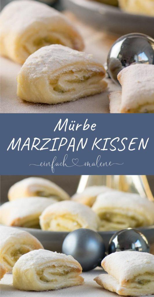 Weiche Pistazien Marzipan Kissen mit Quarkteig. Die Pistazien Marzipan Kissen sind super einfach zu backen und schmecken köstlich. Nach dem Backen werden sie noch mit Puderzucker bestäubt.