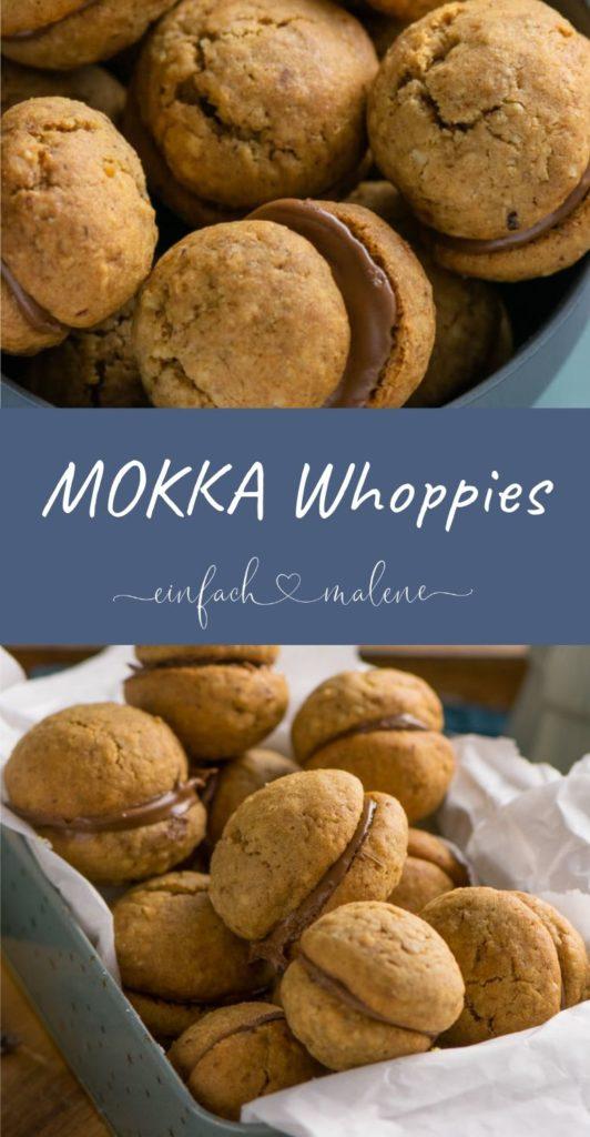 Mokka Whoopies - diese saftigen Doppelkekse stecken voller Nüsse und Nougat. Super leckere Weihnachtskekse mit Nougatfüllung und leichtem Mokkageschmack, super easy zu backen und dank gemahlener Hasenüsse wunderbar saftig.