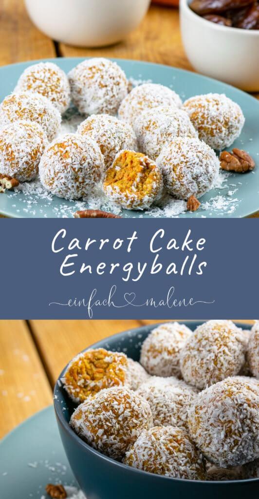 Super lecker - Energiekugeln mit Karotte, Pecannüssen und Datteln. Eine gesunde (Oster-) Alternative zu Kuchen - super weich und saftig, kleine runde Carrot Cake Balls.
