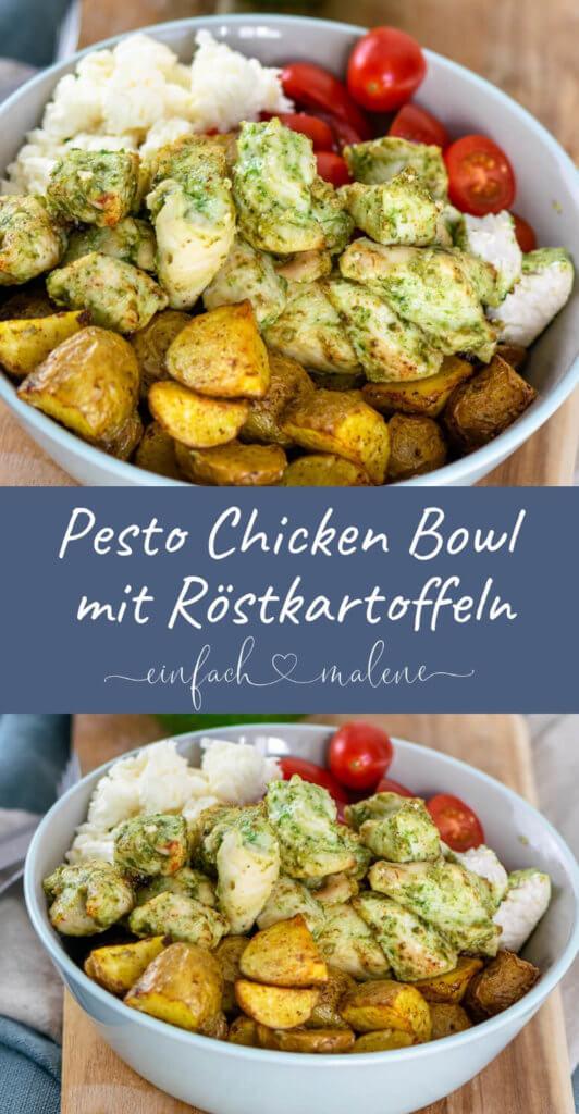 Knaller Rezept! Super easy & richtig lecker - das Rezept für die Pesto Chicken Bowl ist perfekt zum Zubereiten in der Heißluftfritteuse - geht auch ohne! Mit nur 5 Zutaten