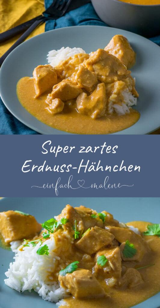 Zartes Erdnuss-Hähnchen aus dem Slowcooker. Es ist super einfach zubereitet und schmeckt absolut genial. Das Erdnuss-Hähnchen aus dem Slowcooker ist mega zart und eines meiner liebsten Rezepte.