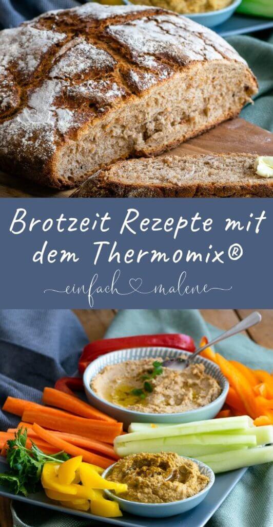 Leckere Brotzeit mit dem Thermomix® - Bauernbrot, Sesamsalz, Rohkost, Hummus & Honig Senf Frischkäse Dip. Diese Rezepte sind perfekt für die Zubereitung im Thermomix - besonders für Einsteiger