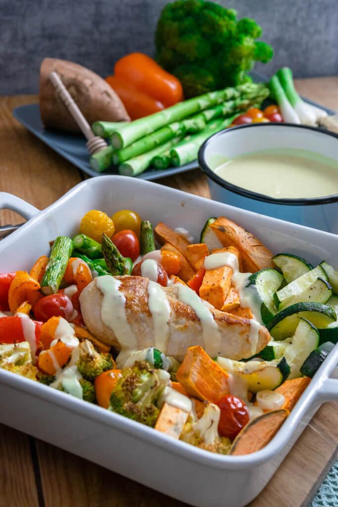 Ofengemüse mit Süßkartoffel, Paprika, Brokkoli, Tomaten und Zucchini mit leckerer Honig Senf Soße