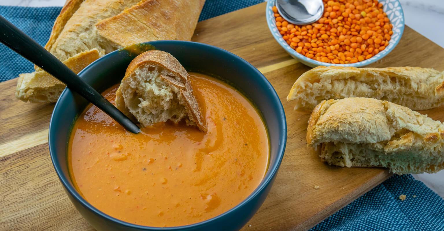 die rote linsen suppe ist vegetarisch