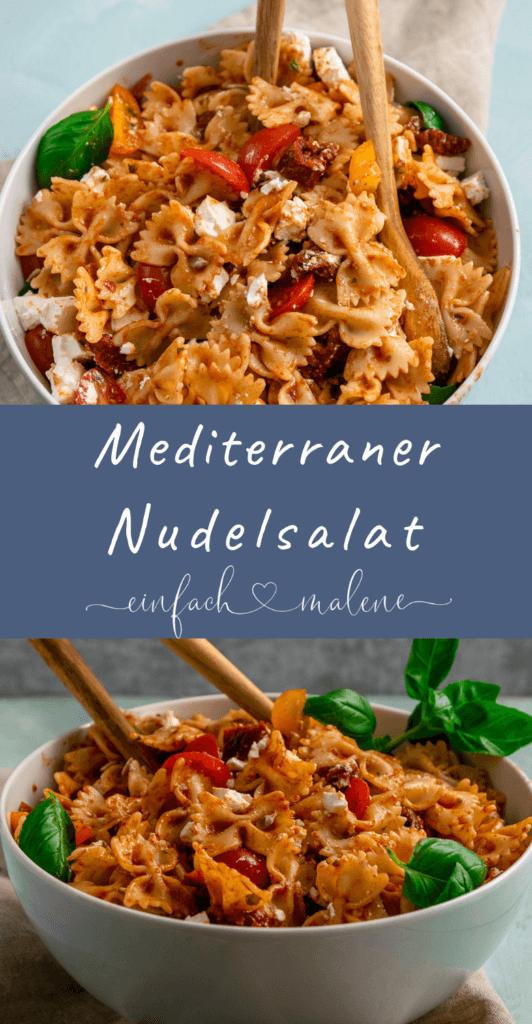 Mediterraner Nudelsalat mit einem fruchtig würzigen Balsamico Dressing. Der perfekte Salat zum Grillen oder um auf einer Party im Mittelpunkt zu stehen.