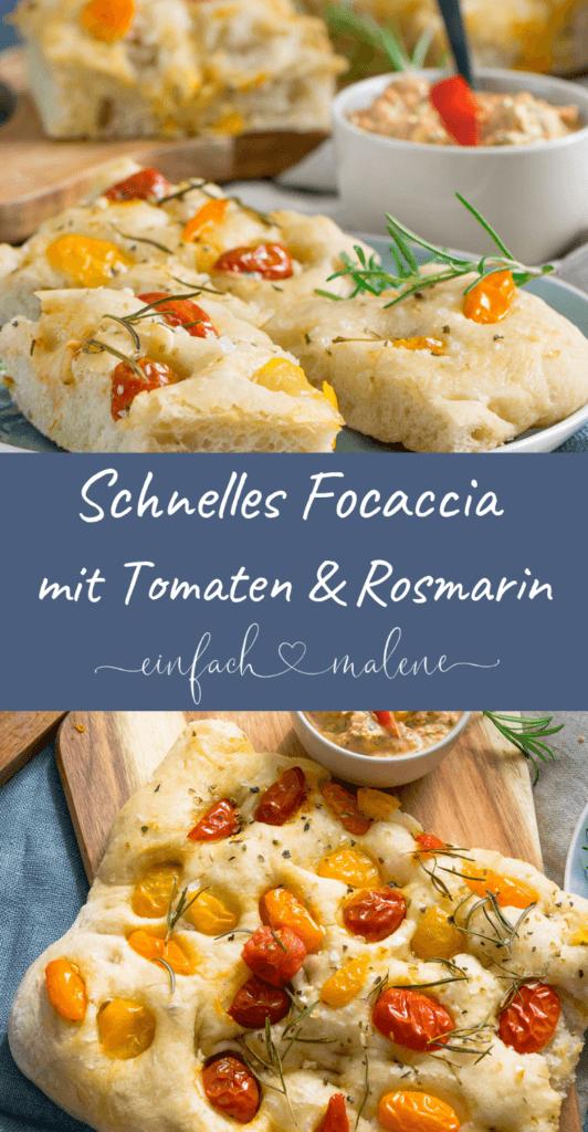 Tomaten Focaccia - mit frischen Tomaten, Rosmarin & Knoblauch. Dazu passt ein Feta Dip mit Paprika & frischer Petersilie. Mit Anleitung für den Thermomix