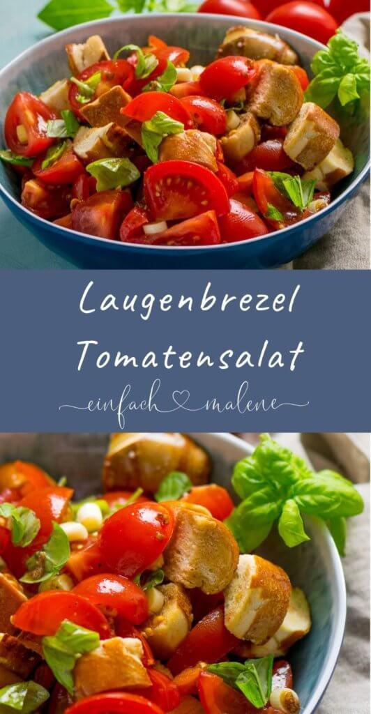 Mega leckerer Laugenbrezel Tomatensalat - in nur 15 Minuten zubereitet. Und er ist köstlich! Der Laugenbrezel Tomatensalat schmeckt noch besser als der klassische Panzanella und ist kinderleicht zubereitet - besonders lecker im Sommer!