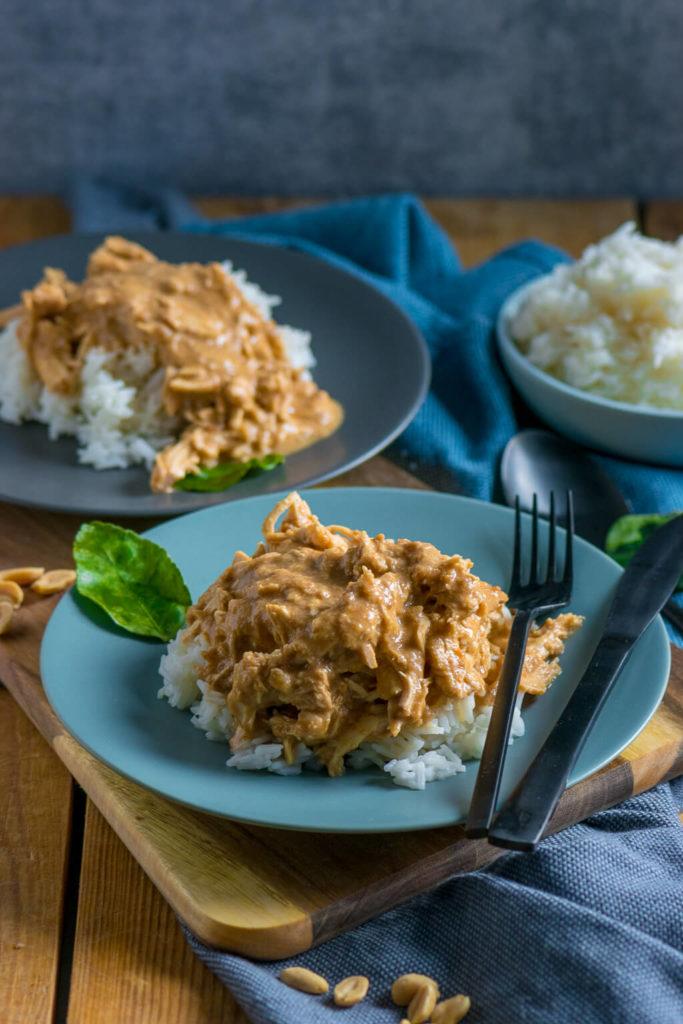 satay rezept - pulled chicken mit erdnusssauce