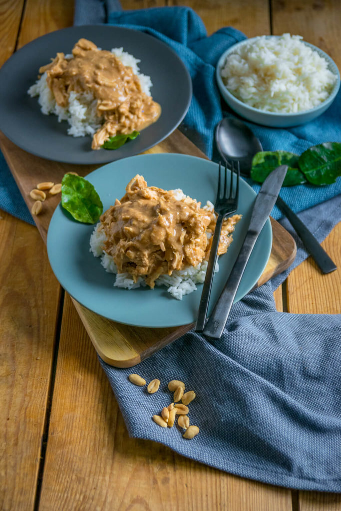 cremiges pulled chicken aus dem slow cooker