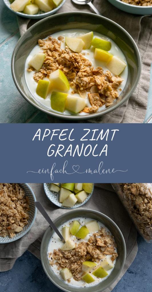 Apfel Zimt Granola - gesund & lecker als Frühstück oder Zwischenmahlzeit. Ich liebe dieses Rezept, es ist eines der besten Knuspemüslis aller Zeiten! Selbst gemacht mit nur wenig Zucker, Apfel und Joghurt das Granola der Knaller!