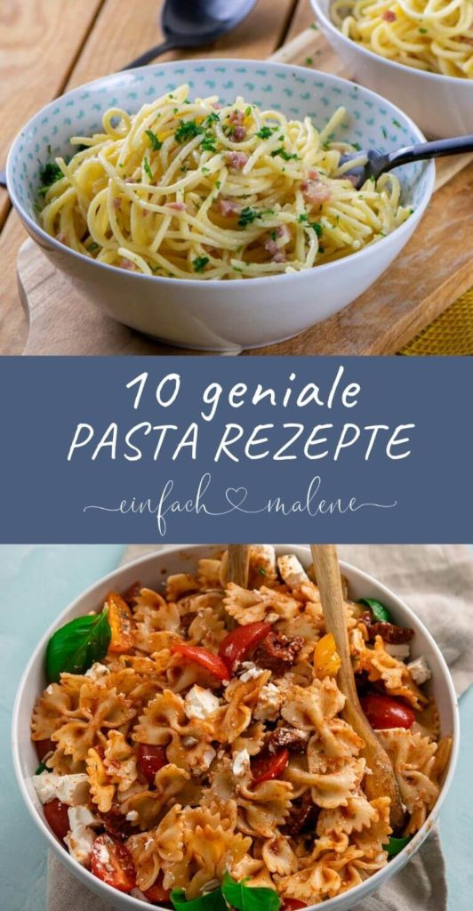 Bist du auf der Suche nach leckeren Rezepten für den Feierabend? Dann schau mal in diese leckeren Pasta Rezepte. Die sind so lecker & einfach zuzubereiten. Pasta Carbonara, Nudelsalat mit Feta, Pesto Pasta und viele weitere leckere Pasta Rezepte waren auf dich. Und das beste? Viele davon sind in weniger als 30 Minuten zubereitet. #pastarezepte #nudeln #feierabendküche #einfacherezepte