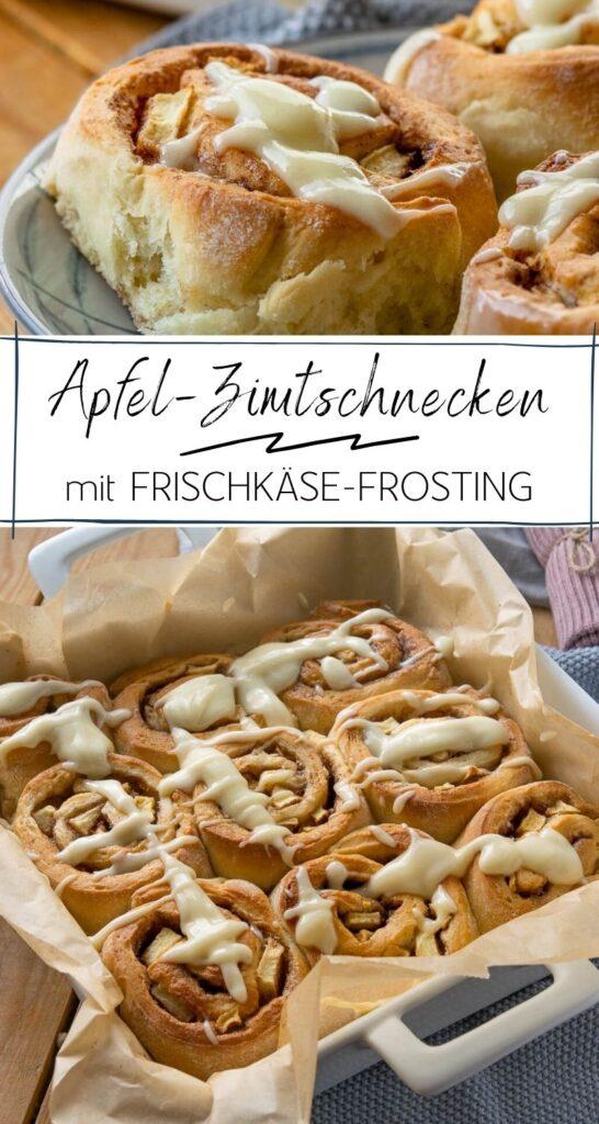 Leckere Apfel Zimtschnecken - fluffig, saftig und mit einer großen Portion Zimt - super lecker ganz besonders mit Frischkäse Frosting. #herbst #cinnamonrolls