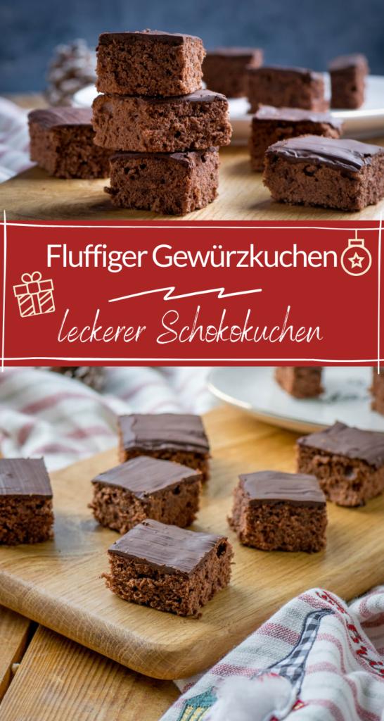 Der perfekte Kuchen für die Vorweihnachtszeit - der Gewürzkuchen kann mit Schokolade oder Zuckerguss überzogen werden. Einfaches Rezept, mega köstlich. #weihnachten #gewürzkuchen #schokokuchen #lebkuchen