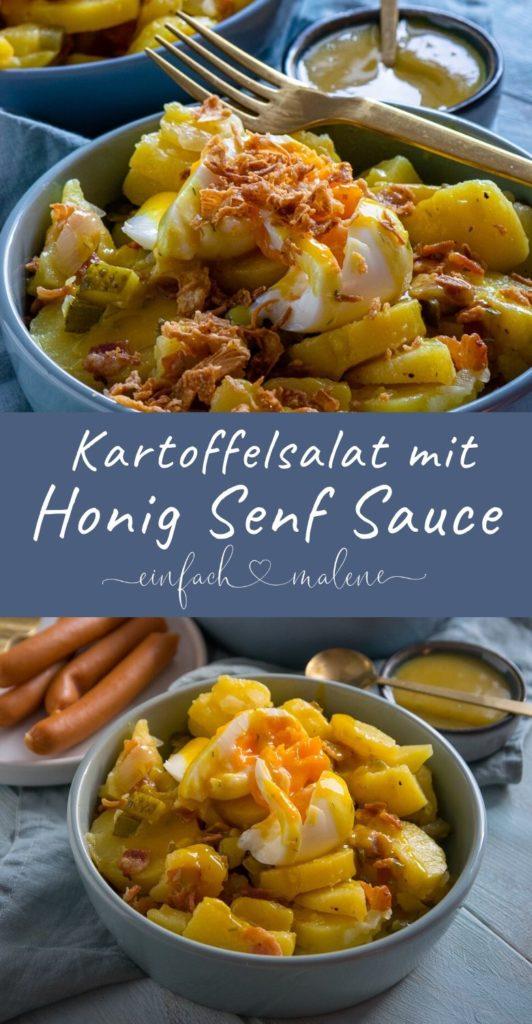 Genial und extrem lecker! Der Kartoffelsalat schmeckt so gut. Die beste Kombination sind Honig Senf Sauce, Speck, Eiern und Röstzwiebeln. #honigsenf #kartoffelsalat #röstzwiebeln #foodporn #beilage #partyrezept