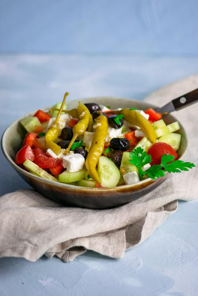 Gesunde Rezepte - heute gibt es einen griechischen Bauernsalat