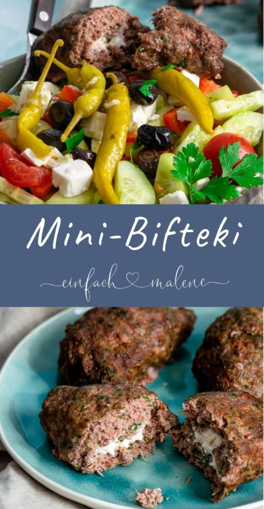 Leckere Mini Bifteki aus der Heissluftfritteuse. Das Rezept für die Mini Bifteki ist super einfach. Du kannst griechische Bifteki auch ganz einfach zuhause zubereiten. Besonders saftig aus dem Airfryer. #heissluftfreitteuse #griechischerezepte #rinderhack #airfryer