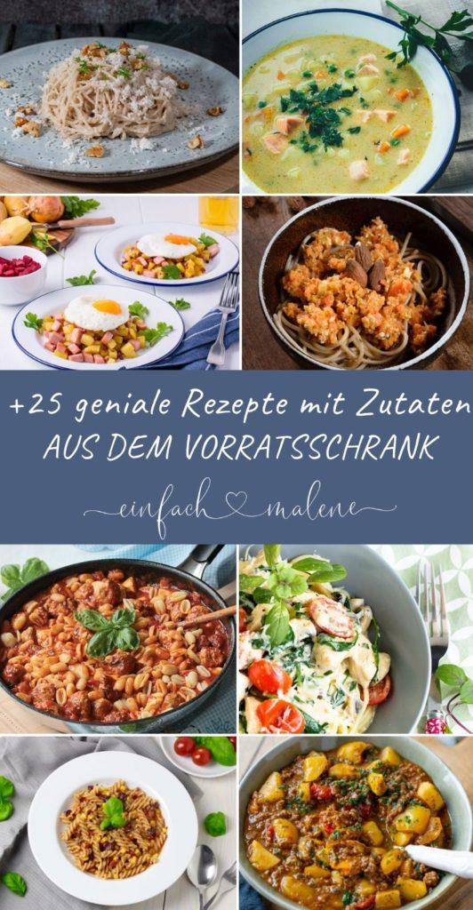 +25 geniale Rezepte mit Zutaten aus dem Vorratsschrank. Eine Zusammenstellung der besten Rezepte von deutschsprachigen Foodbloggern aus Deutschland. Lecker und unkompliert mit Zutaten aus dem Vorratsschrank.