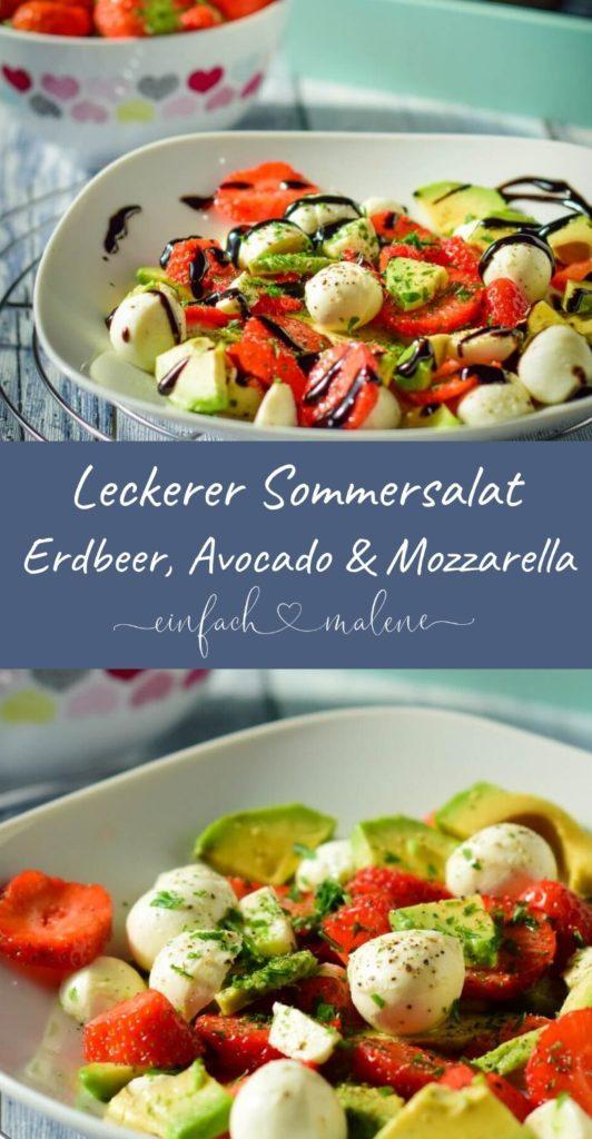 Super lecker und ruck zuck zubereitet. Der Avocado Salat mit Erdbeeren schmeckt erfrischend und ist Genuss pur. #erdbeeren #salate #sommerrezepte