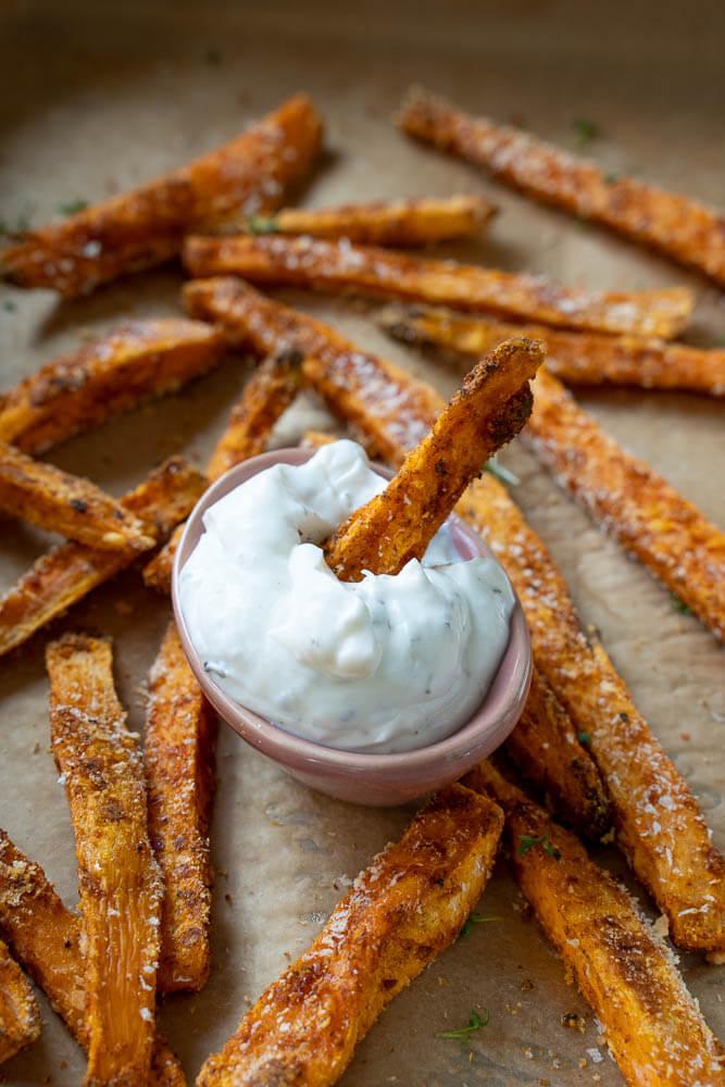 Mein ww - lila Plan - wenige Punkte mit Sattmacher Lebensmitteln - Süßkartoffel Pommes mit Sour Cream