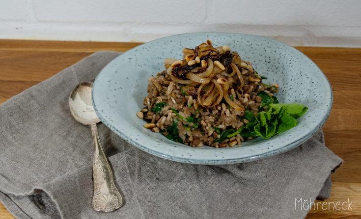 Linsen-Reis mit Röstzwiebeln - Möhreneck