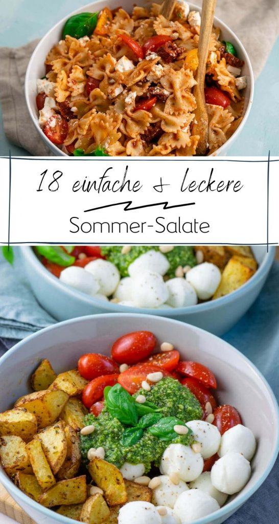 Bist du auf der Suche nach einer leckeren Idee für einen schnellen Sommer Salat? Hier findest du 18 tolle sommerliche Salat-Rezepte auf einen Blick. Lecker! Nudelsalate, Kartoffelsalate, Pesto- Honig-Senf Dressing und weitere tolle Rezept Ideen für alle, die unkomplizierte Rezepte mögen. #einfacherezepte #salate #sommerrezepte #kartoffelsalate #nudelsalate