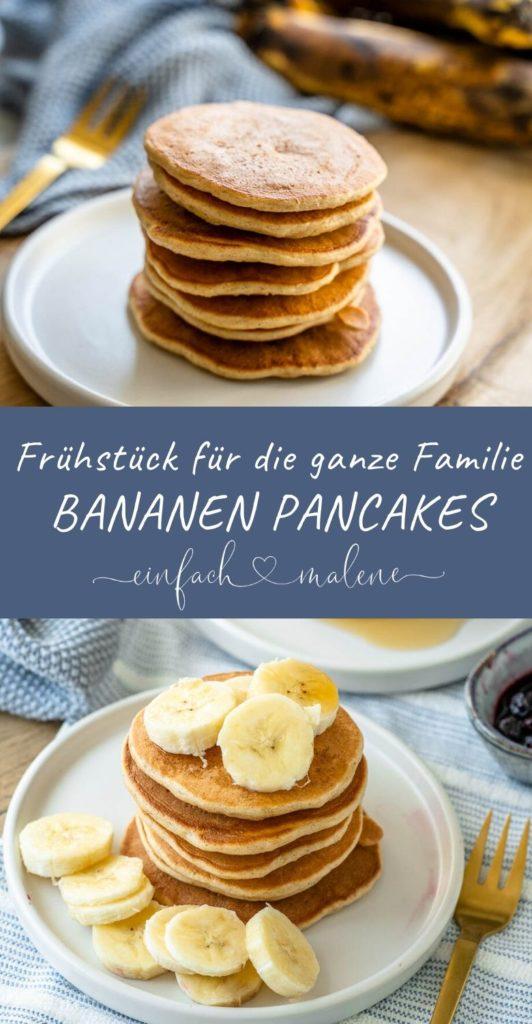 Leckere gesunde Pancakes mit Haferflocken, Skyr und Zimt. Extrem lecker und super fix gemacht. Ich backe sie am liebsten fettfrei in einer beschichteten Pfanne oder noch einfacher auf dem Kontaktgrill. #pancakes #bananen #reifebananen #frühstücksrezepte #breifrei #familienrezepte