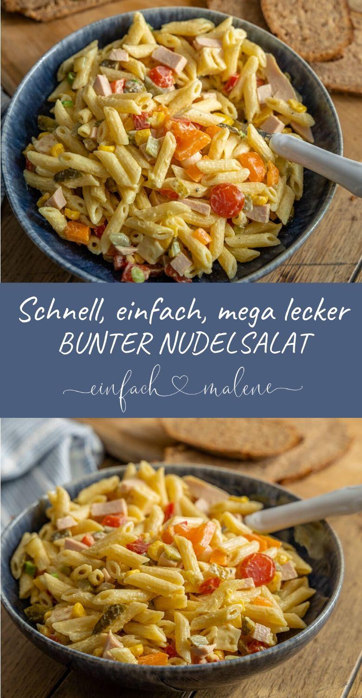 Weltbester bunter Nudelsalat mit Mayonnaise - eine perfekte Grillbeilage. Der sommerliche Nudelsalat schmeckt nicht nur zum Grillen, er ist perfekt für jeden Anlass und ist super schnell zubereitet - auch vegetarisch o. vegan. #Salate #pasta #grillen #bbq #Nudelsalate #Klassiker
