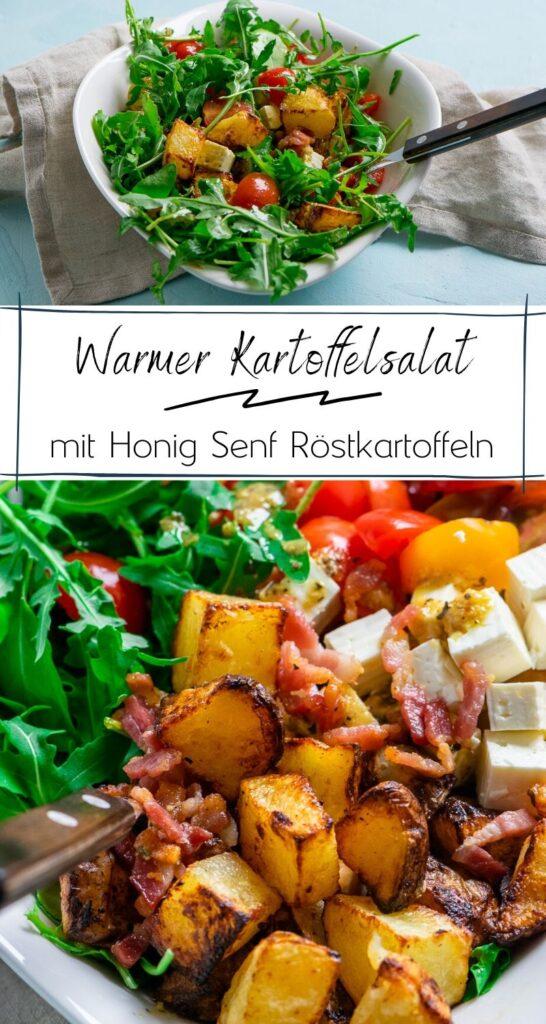 Warmer Kartoffelsalat - Honig Senf Röstkartoffel Salat mit Rucola und Speck #kartoffeln #kartoffelecken #airfryer #rucola #grillen