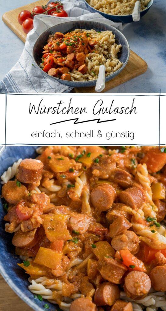 Würstchen Gulasch Rezept mit Nudeln - Würstchen Gulasch - das perfekte Reste-Essen für die ganze Familie #familienküche #nudeln #gulasch #würstchen